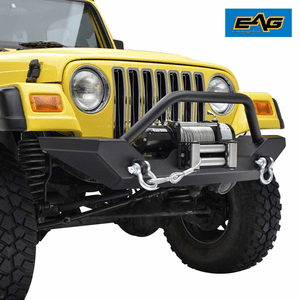 Jeep Wrangler TJ Front Bumper with 2x D-ring & Winch Plate (51-0034) On Amazon