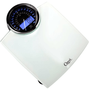 Ozeri ZB19-W Rev Digital Bathroom Scale with Electro-Mechanical Weight Dial in White or Black