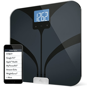 Weight Gurus Bluetooth Smart Connected Body Fat Scale with Large Backlit LCD in black by Greater Goods