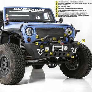 Smittybilt (76807) XRC Gen 2 Jeep JK Front Bumper With Heavy Duty Textured Matte Black Finish