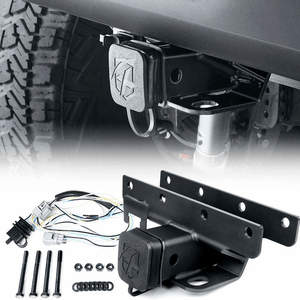 2007-2018 Jeep Wrangler JK JKU 2-Inch Rear Tow Hitch Receiver With Wiring For Jeep JK Models On Amazon