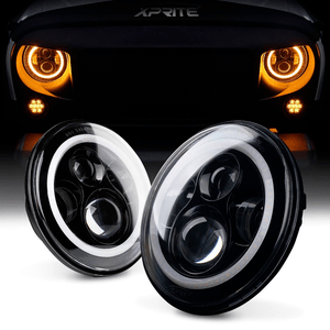 Xprite Jeep LED Headlights With CREE Halo Ring DRL For Jeep Wrangler JK TJ LJ years 1997-2017 On Amazon
