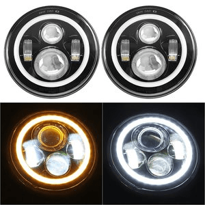 Jeep Wrangler LED Headlights with Halo Angel Eye Ring & DRL & Turn Signal Lights fits Jeep Wrangler JK LJ CJ Hummer H1 H2 By SUNPIE