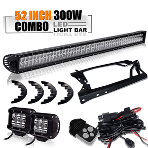 52-Inch Jeep Wrangler JK LED Light Bar with LED Light Bar + Pair 4 inch Pods Cube Fog Lights + Upper Roof Windshield Mounting Brackets and with Lower Corner A-pillar Hinge Mount Brackets On Amazon