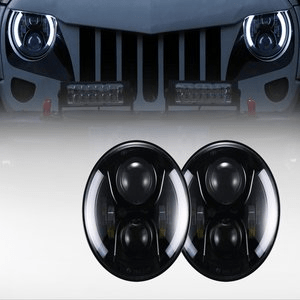Opar Jeep Wrangler LED Headlights With Halo DRL Angel Eyes & Turn Signal for Jeep JK CJ TJ LJ (97-17)