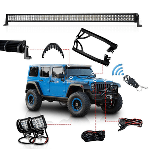 Racbox 52-Inch 300W Offroad LED Jeep Light Bar with 18W LED Driving Light bar Windshield Mounting Brackets for Jeep JK Wrangler 07-16 On Amazon