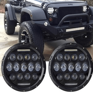Turbo SII Jeep Wrangler LED Headlights With Daytime Running Lights and Hi/lo Beam