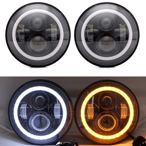 Turbo Jeep Wrangler JK LED Headlights with White Halo Angel Eye & DRL LED Projection Lens