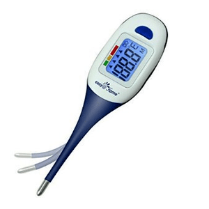 Clinical Digital Oral Thermometer with Waterproof Backlit LCD Display by Easy@Home