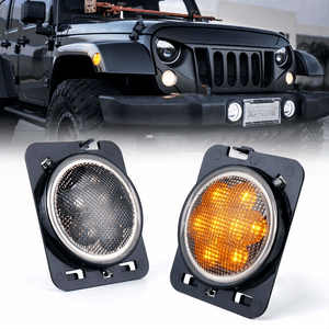 2007-2018 Jeep JK LED Amber Yellow Front Fender Side Marker With Smoke Lens On Amazon