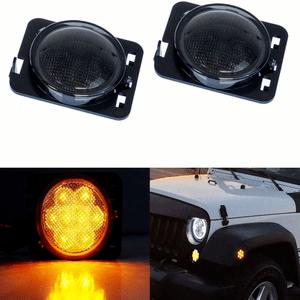Jeep Smoked Lens Amber LED Front Fender Flare Side Marker Light Kit For 2007-2017 Jeep JK On Amazon