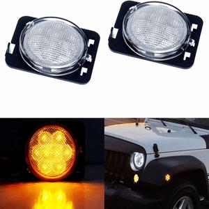 Jeep Clear Lens Amber LED Front Fender Flare Side Marker Light Kit For 2007-2017 Jeep JK On Amazon