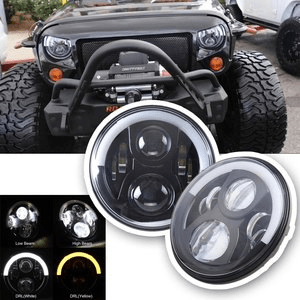 Jeep LED Headlights By SUNPIE for Jeep Wranger JK with Halo Angel Eye & Turn Signal Lights & DRL