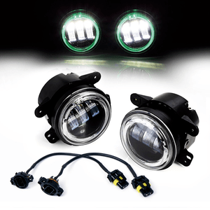 Xprite 4-Inch 60W CREE LED Fog Lights With Green Halo Ring DRL For Jeep Wrangler 97-17 JK TJ LJ On Amazon