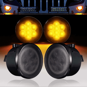 Jeep Front Turn Signal Lights Amber LED Smoked Lens For 2007-2018 Jeep Wrangler JK On Amazon