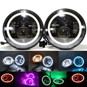 Jeep Wrangler LED Projector Headlights By TRUCKMALL with White and Blue Halo Ring Angle Eye fits Jeep Wrangler JK LJ TJ 1997-2017
