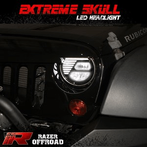 Razer Auto Jeep Wrangler Extreme Skull LED Headlights with Cree LEDs and Daytime Running Lights