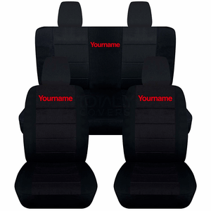 Custom Made Jeep Wrangler JK Black Front And Rear Seat Covers With Your Name Printed On Amazon