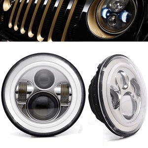 AOSI Jeep Wrangler LED Headlights for Jeep JK LJ CJ with Halo Angel Eye Ring & DRL & Amber Turn Signal