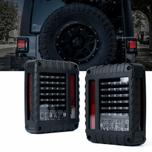 Xprite Defender Series Jeep Wrangler JK JKU LED Tail Lights With Turn Signal & Back Up Rear TailLights