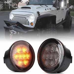 Xprite LED Turn Signal Lights Smoke Lens Front Turn Signal For 2007-2018 Jeep Wrangler JK On Amazon