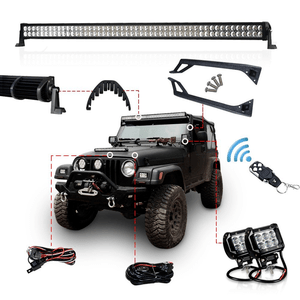 Racbox 288w 50-Inch Straight LED Jeep Light Bar Offroad Light Bar Kit with Upper Windshield Mount Brackets for Jeep YJ 1987-1995 + 2 x Free 4 inch Light +1 x Wiring Kit with Switch+2 x Brackets On Amazon