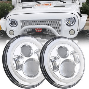 Jeep LED Headlights Chrome With White Halo Eye For Jeep Wrangler JK LJ CJ Models On Amazon