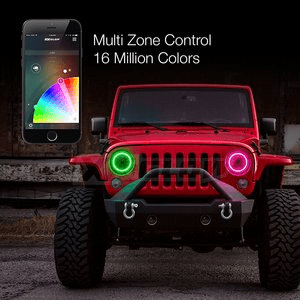 Jeep LED Headlight Kit with Smartphone App 7 inch RGB Halo Bluetooth enabled for Jeep JK TJ