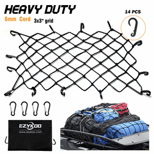 Premium Universal Bungee Cord Mesh Jeep Cargo Net With Roof Tie-Down And 14 Hooks On Amazon
