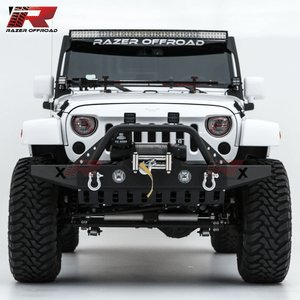 Razer Jeep Front Bumper With Skid Plate, Fog Lights Holes for 07-18 Jeep Wrangler JK