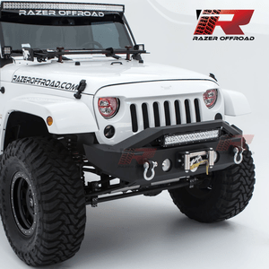 Razer Jeep Wrangler JK Front Bumper with Winch Mount and OE Fog Light Holes Fits 07-18 Wranglers