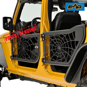2007-2018 Jeep Wrangler JK Unlimited 4-Door Spider Web Half Doors With Side Mirrors By EAG On Amazon