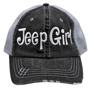 Jeep Girl Cap Embroidered Trucker Style Hat Grey On Grey White fe545ef30087