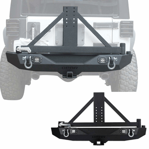 Jeep Wrangler JK Rear Bumper With Heavy Duty Tire Mounting Rack And LED Lighting By Hooke Road On Amazon