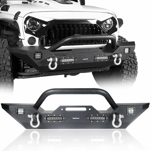 Jeep Front Rock Crawler Winch Bumper With LED Accent Lights For 2007-2018 Jeep Wrangler JK On Amazon