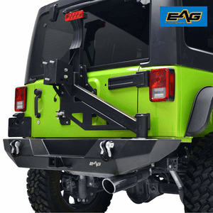 EAG 2007-2018 Jeep Wrangler JK Rear Bumper With D-ring Shackles And Tire Carrier With Linkage On Amazon