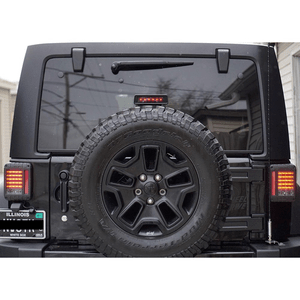 Liteway 07-16 Jeep Wrangler JK LED Rear Tail Light + Smoke Lens Third High Brake Light