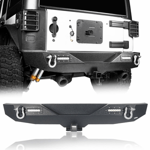 Black Jeep Wrangler JK Rear Bumper With Hitch Receiver & LED Lights By Hooke Road On Amazon