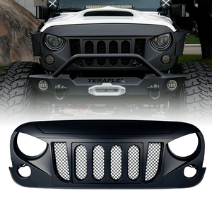 Front Matte Black Transformer Grille Grid Grill With Mesh Insert For Jeep Wrangler Rubicon Sahara Sport JK On Amazon