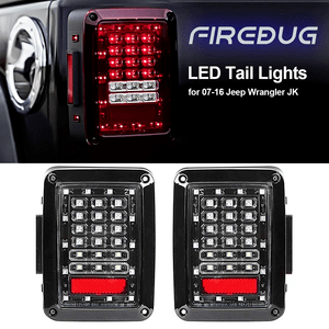 Firebug Jeep Wrangler Rear LED Lights, Jeep Wrangler LED Tail Lights, Jeep Brake Light LED, LED Jeep Reverse Lights, JK JKU 07 - 16