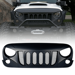 Xprite Jeep Wrangler Front Matte Black Transformer Grille Grid With Mesh For Rubicon Sahara Sport JK On Amazon