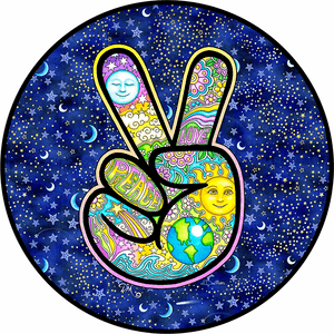 Hand Peace Sign Earth Love Sun Moon Jeep Wrangler Tire Cover In Multiple Sizes On Amazon