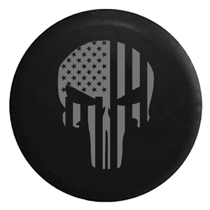 Gray American Flag Tactical Punisher Skull Jeep Tire Cover In Multiple Sizes On Amazon
