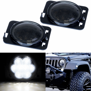 Jeep Smoked Lens White LED Front Fender Flare Side Marker Light Kit For 2007-2017 Jeep JK On Amazon