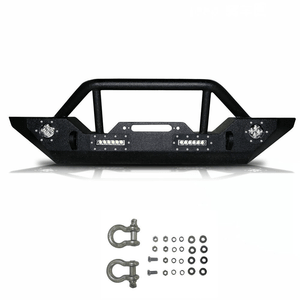 Black Jeep Front Bumper With 4 LED Lights Rock Crawler with Winch Plate For 07-18 Jeep JK