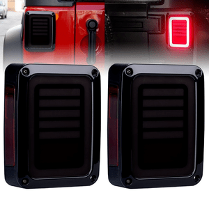 Smoked LED Jeep Wrangler JK Tail Lights for 07-17 Jeeps Durable Break Lights