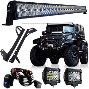 52-Inch 300W LED Light Bar Combo Kit For Jeep Wrangler JK 2007-2018 On Amazon