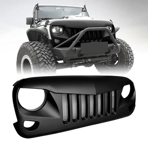 Jeep Wrangler Front Matte Black Eagle Eye Grille Grid Grill with Mesh Insert for JK JKU Unlimited Rubicon Sahara 2007-2018 On Amazon
