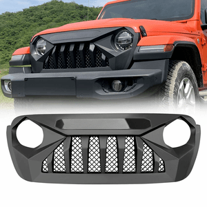 Jeep Wrangler Black Front Matte Black Beast Grille Grid Grill with Built-In Mesh On Amazon