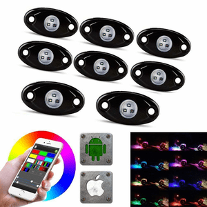 Jeep Wrangler LED Rock Light Kits With 8 Pods RGB Lights Waterproof With Bluetooth On Amazon